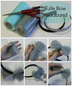 DIY Tulle Bows - put it on a headband and add a rhinestone. So cute!