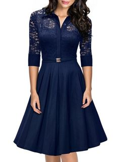 Missmay Women's Vintage 1950s Style 3/4 Sleeve Black Lace Flare A-line Dress (Medium, Navy Blue)