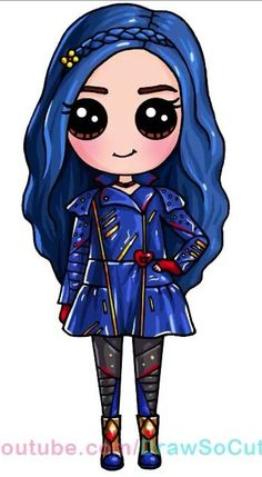 Cute Kawaii Drawings, Cute People Drawings, Easy Drawings, Cute Disney, Disney Kawaii, Descendants 2, Draw So Cute, Cute Pictures, Sofia Carson