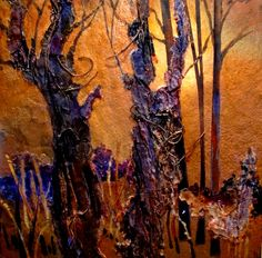 Mixed media tree collage by Carol Nelson
