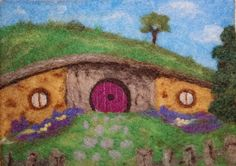 Needle Felting a Picture Free Tutorial - Needle Felted Hobbit House Felt Pictures, Fabric Pictures, Felted Wool Crafts, Needle Felting Tutorials, Sewing Appliques, Nuno Felting, Felt Art, Felt Animals, Couture