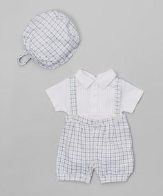 Look at this #zulilyfind! Blue Plaid Suspender Bodysuit Set - Infant #zulilyfinds