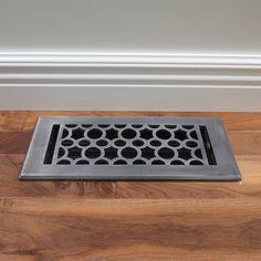Unikwities Art Nouveau Aged Pewter Finish Solid Cast 4 x 10 Decorative Floor Register