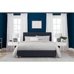 Shop for DHP Emily Blue Linen Upholstered Queen Bed. Get free shipping at Overstock.com - Your Online Furniture Outlet Store! Get 5% in rewards with Club O!