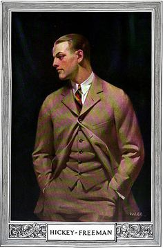 Advertisment for Hickey Freeman, by Webb.Three piece and a club tie… Mode Masculine, Ivy League Style, Men Are Men, Vintage Outfits, Vintage Fashion, Classic Wardrobe, Dapper Gentleman, Flapper Style, Vintage Men