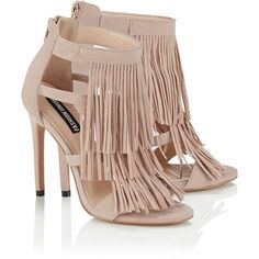 Fashion Union Fringed Heeled Sandals (€67) ❤ liked on Polyvore featuring shoes, sandals, boho chic shoes, boho sandals, lipsy, bohemian sandals and heeled sandals