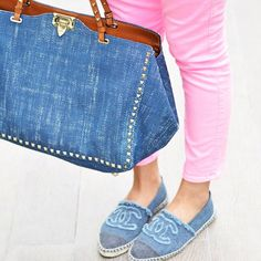 Denim, Valentino bag and Chanel shoes