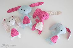 A bunch of bunnies - Sew a Bunny - DIY Easter Bunny Tutorial - Free Pattern to sew this cute bunny - would make a great baby gift! - Melly Sews