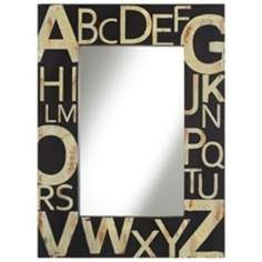 "Black and Cream Typography 36"" High Wall Mirror- kids bathroom 159.99"