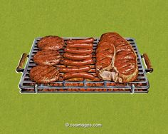 Grill with Hamburgers, Hot Dogs, and a Steak- csa images