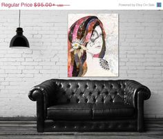 """Stella"" stretched canvas print by Jenndalyn Art #art #mixedmedia #collage #bohemian"