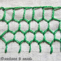 Complete list of embroidery stitches: honeycomb blanket stitch: pictures, hover over to see type of stitch then click on it for complete picture tutorials