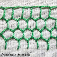 blanket stitch honeycomb | Sarah's Hand Embroidery Tutorials