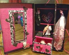 DIY projects: DIY fashion doll wardrobe/closet made from a photo storage box.