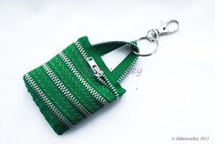 Zip mini tote coin purse keyring -  bag charm - zipper craft by habercraftey £7.50
