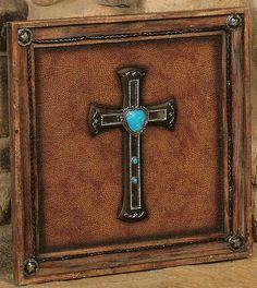 western framed turquoise cross