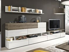 Arte-M Beam TV unit and wall storage system in white and dark oak