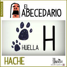 Letra H (hache).Aprender el abecedario español, alfabeto. ** Letter H (hache). Learning the Spanish alphabet