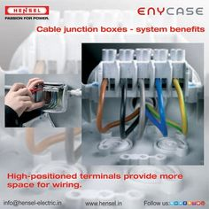 High-positioned terminals provide more space for wiring. Junction Boxes, Conductors, Engineers, Transportation, Wire, Construction, Positivity, Space, Building