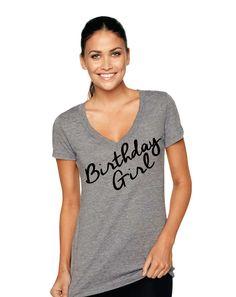 582c1b98 Birthday Girl Tri-Blend Deep V-Neck shirt, Birthday Shirt, Womens Birthday Girl  Shirt, Birthday Girls T Shirt, Girls Top