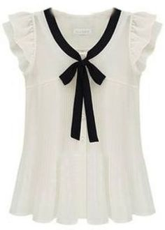 White Ruffle Sleeve Bow Tie Front Chiffon Blouse - Sheinside.com Mobile Site