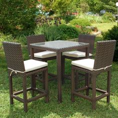 Have to have it. Atlantic Monza Square Bar Height All Weather Wicker Dining Set - Seats 4 - $1477.3 @hayneedle