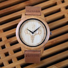 Wooden Wristwatch with Genuine Leather Band //Price: $26.99 & FREE Shipping //     #diy