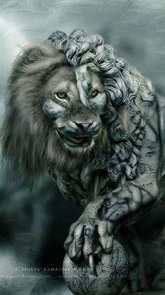 Stone Lion by CindysArt on DeviantArt (detail)