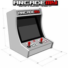 début de la conception du kit pour la borne d'arcade bartop 2 joueurs, pour base pc (carte mère ATX ou ITX), écrans 4/3 de 14 à 17 pousses !