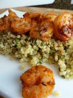 Quinoa with Spice-Roasted Shrimp and Pistou