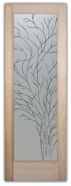Frosted Glass Pantry Door - Wispy Tree by Sans Soucie - Design Your Glass Pantry Door, just the way you want it! Block the view but brighten the look with a beautiful custom designed, etched glass pantry door by Sans Soucie!  Dozens of designs in any decor!   Mix and match borders and designs!  Get a traditional pantry look with a border and upper design, even changing your font style. Worldwide shipping.