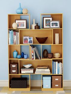 Stacked compartments and shelves with uneven shapes are both practical and fun!