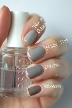 (EDIT: I have Master Plan & Mochacino now.) Essie Greige Comparison : Chinchilly, Take It Outside, Master Plan & Mochacino Grey Nail Polish, Gray Nails, Love Nails, How To Do Nails, Pretty Nails, Fun Nails, Neutral Nails, Essie Nail Polish Colors, Accent Nails