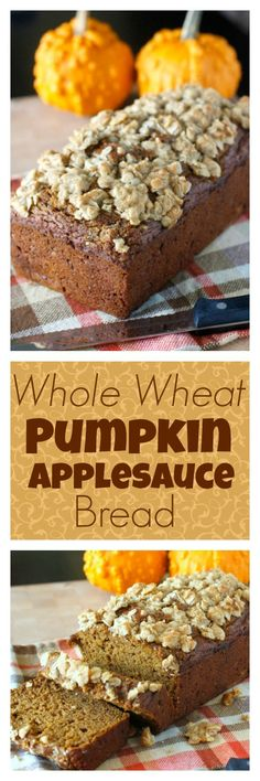 Whole Wheat Pumpkin Applesauce Bread - a healthy pumpkin bread made with whole wheat flour and naturally sweetened with honey! YUM!!