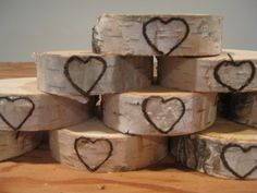 Rustic  Birch Bark Place Card Holders , 10 with Engraved Heart for Weddings, Bridal Showers, Parties. $14.50, via Etsy.