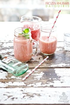 Frozen Rhubarb Daiquiris