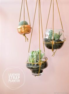Leather Strap Hanging Planter Tutorial (I'll take 97 please!)