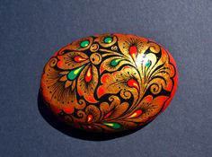 Hand Painted Rock Russian Hohloma Style by PleasureForTheSOUL