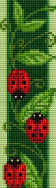Bookmark with ladybirds