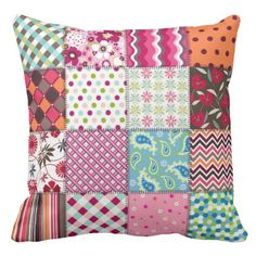 Multicolored Patchwork Quilt Patterns Pillow