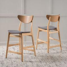 Christopher Knight Home Gavin Mid-Century Wood Counter Stool (Set of 2) | Overstock.com Shopping - The Best Deals on Bar Stools
