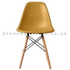 Stonebutterfly.com  Charles Ray Eames Style DSW Side Chair Natural legs - Gold