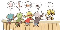 They all want food from Sanji - Trafalgar D. Water Law, Monkey D. Luffy, Roronoa Zoro, Tony Tony Chopper and Sanji One piece Anime One Piece, One Piece Comic, One Piece Funny, One Piece Fanart, Anime Chibi, Manga Anime, Film Manga, Me Anime, One Piece Images