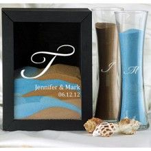 Personalized unity sand set. You can make this as symbol of blending your families you can do six colors that each of you pours in during the ceremony.