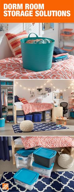 Make the most of your dorm room by maximizing the small space with smart storage solutions, like durable and stackable bins. Clever organization leads to a clutter-free dorm room, clearing your space and your mind. Click to shop.