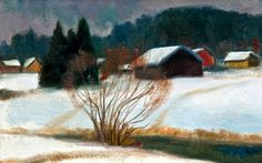 Motif from Lieto by Onni Oja Finland, Artists, Nature, Landscapes, Houses, Painting, Interiors, People, Paisajes