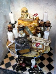 Witchy  Alchemy Table ooak dollhouse miniature in by DarkSquirrel
