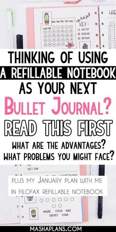 Thinking of using a refillable notebook for your Bullet Journal? This post is for you! Join me as I set up my January Bullet Journal pages in a Filofax refillable notebook and talk about the advantages and disadvantages of using it as my Bullet Journal.