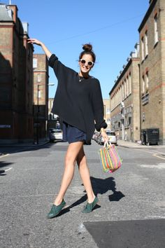 Gala Gonzalez in oversized knit and loose shorts