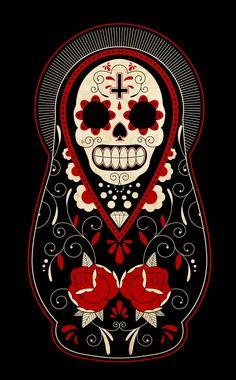 Russian doll design dia de Los muertos